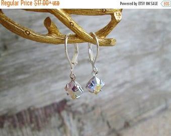 XMAS in JULY SALE Swarovski Ab Silver Clear Aurora Borealis Crystal  Petite Dangle Earrings