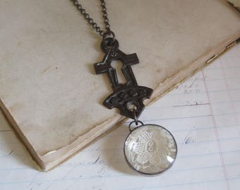 Salvaged Keyhole Cover with Lace Necklace, One of a kind Recycled Jewelry