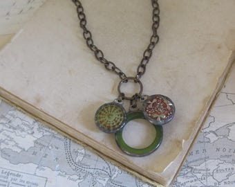 Vintage Glass Button Necklace Recycled Jewelry