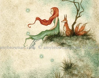 5x7 Waiting fox PRINT by Amy Brown