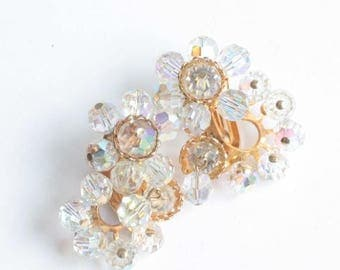 AB Crystal Earrings Dangles Clip Earrings Glitzy Wedding Special Occasion