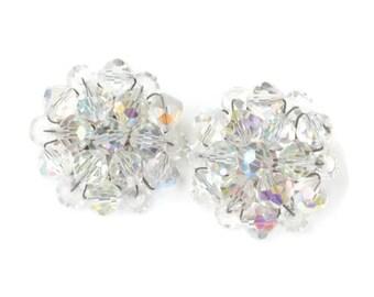 Aurora Borealis Crystal Cluster Bead Earrings Clip On Style Vintage