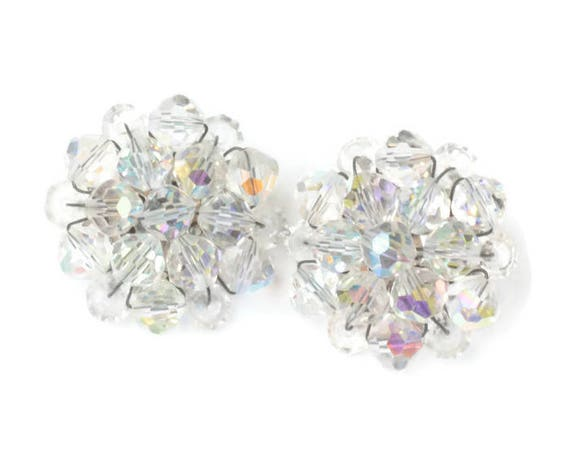 Aurora Borealis Crystal Cluster Bead Earrings Clip On Style Vintage