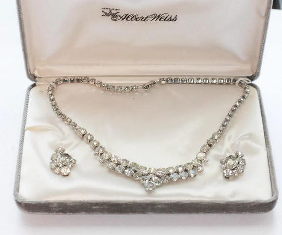 Weiss Clear Rhinestone Crystal Necklace Earrings Set Demi Parure Original Box