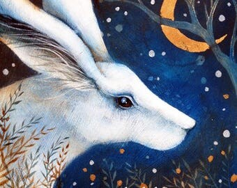 SALE!!     Limited edition Giclee art print by Amanda Clark. Titled , The White Hare 2.  Miniature painting. Mystical Art, sparkle.