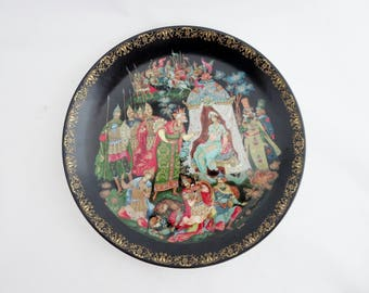 Vintage The Golden Cockerel  Russian Legends Collectors Plate - Russian Art Decorative Plate - Russian Fairy Tale Collectible Plate