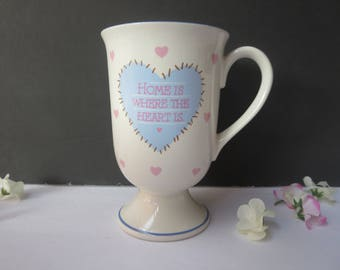 "Coffee Mug -  ""Home Is Where The Heart Is"" - Stitched Heart Coffee Mug - White Footed Coffee Mug With Blue & Pink Hearts"