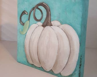 White Pumpkin | Original Acrylic Painting | Pumpkin Art | 6 x 6 inch on canvas | Fall Decor | Turquoise blue and ivory white
