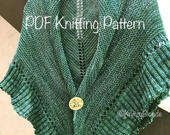 PDF Knitting Pattern Lallybroch Shawl Outlander Inspired Triangle Ruffle Shawl