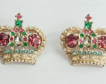 1950s 60s Pink Green Aqua & White Rhinestones Royal Regal Monarchy Crown Crowns Vintage Mid Century Figural Scatter Pins