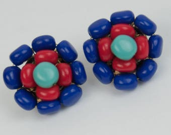 1960s Castlecliff Tiffany Light Blue Royal Blue and Lipstick Red Beads Vintage Mid Century Beaded Clip Earrings