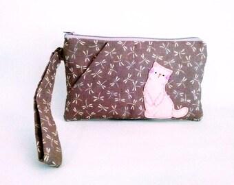 Maroon wristlet, iPhone wristlet, wristlet pouch, wristlet wallet, wristlet purse, clutch purse, cat wristlet, phone pouch, cat phone pouch