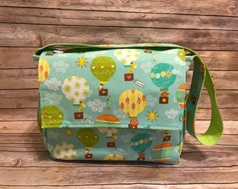 Hot Air Balloon Animal Print Diaper Bag