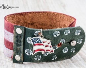Patriotic Leather Cuff Bracelet with Flag Charm, Patriotic Flag Leather Bracelet, Red, White and Blue Leather Bracelet