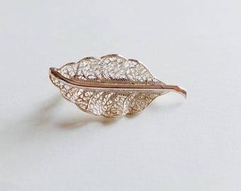 Filigree Sterling Silver Leaf Brooch