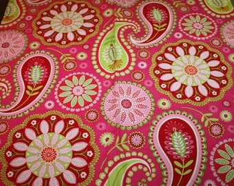 Gypsy Bandana Paisley Pillow & Maxfield for Michael Miller Pink and Green