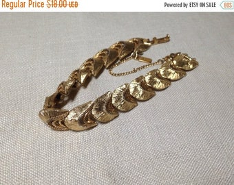 Christmas Sale Vintage Monet Bracelet Brushed Gold Tone Link Signed, Safety Chain