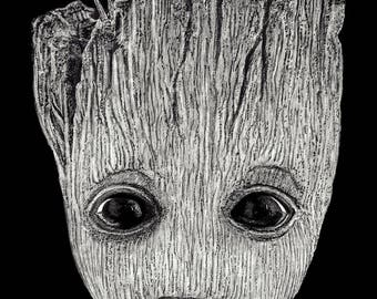 BABY GROOT SCRATCHBOARD original Guardians of the Galaxy art 5x7""