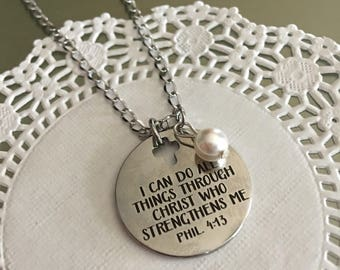 Bible verse jewelry etsy phillipians 4 13i can do all thingsnecklacebible verse jewelry negle Choice Image
