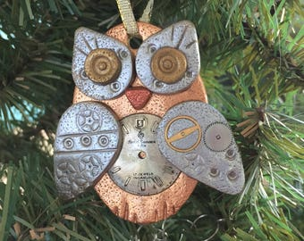 Steampunk Owl Holiday Ornament - Industrial Style Bird Animal Mixed Media Decor style 2