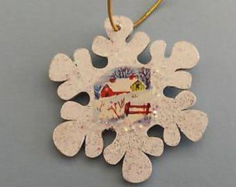 Vintage Winter Scene Glittered Wood Snowflake Ornament