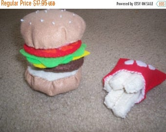 Flash Sale Felt Food Hamburger and French Fry Set - pretend food - cheeseburger - play food - play kitchen - build a hamburger - children  -