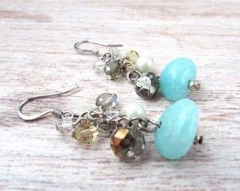 Womens Boho Dangle Earrings - Womens Gemstone Earrings - Bohemian Gemstone Earrings - Boho Dangle Earrings - Gemstone Earrings - 2015 Emmys