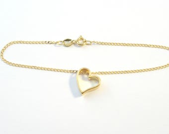 Gold plated sterling silver bracelet with heart