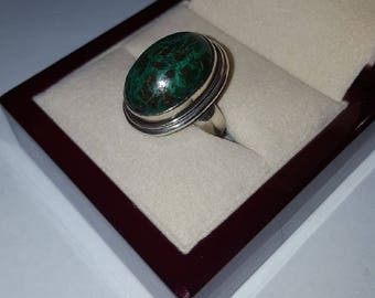 Vintage Sterling Silver Turquoise Cabochon Ring Size 6 1/2