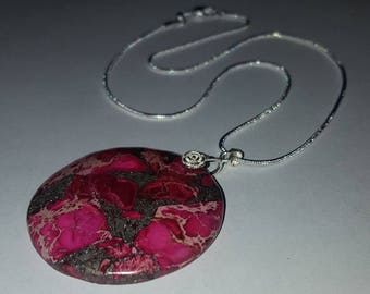 Sterling Silver and Pink Copper Turquoise Pendant Necklace