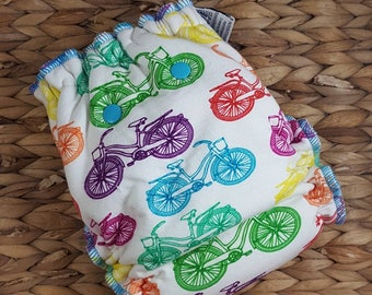 Get out and Pedal!  Bikes - One Size (11-35#) Bamboo/OBV Fitted Cloth Diaper