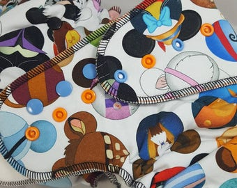 I Spy - One Size (11-35#) Bamboo/obv OR Windpro/obv OR Hybrid/cv Fitted Cloth Diaper (Disney, Mickey, Head, Belle, Rapunzel, Hook, Nappy)