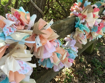 Boho Chic Fabric Garland for Birthdays, Showers and Weddings.  Coral and Aqua 6-10 Foot Handmade Banner.  Eco-Friendly Party Decoration