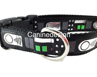 Dog Collar, Darth Vader, 1 inch wide, adjustable, quick release, medium, 13-19 inches
