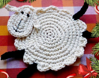 Sheep Coasters - Crochet Coasters - Lamb Coasters - Wedding Gift - Farmhouse Decor - Set of 2 - Gift for mom - Everyday Gift - Tableware