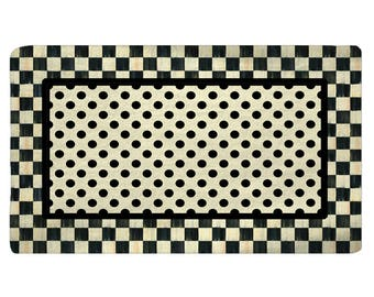 Designer Classic Style Plush Fuzzy Area Rug -Checkerboard and dots, Black and parchment colors - Size 48x30, 60x48, 96x44. 96x60