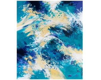 SALE Abstract Expressionist Painting, Original Abstract Painting, 20x24 Canvas Wall Art, Coastal Home Decor, Modern Art, blue white gold