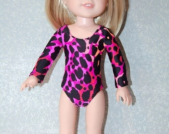 Spring Sale Gymnastics Leotard Doll Clothes Pink Coral Black Spots handmade for 14.5 inch Wellie Wishers tkct1144 READY TO SHIP