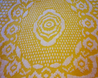 Chenille bedspread in yellow / for projects / vintage bedding / antique / cotton / raised pattern / Girl's room / fringe