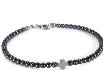 Hematite cross bracelet - stainless steel - protection - Greek jewelry - Minimalist bracelet - black hematite