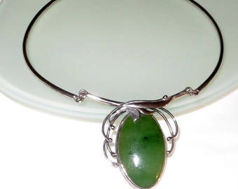 Jadite Green Stone Sterling Silver Necklace 27g