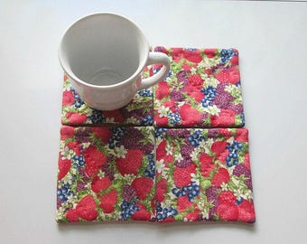 strawberries and blue berries hand quilted set of mug rugs coasters