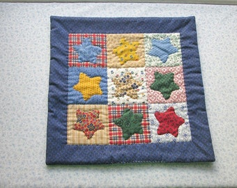vintage blue fabric with stars hand quilted table mat, center piece, wall hanging    you decide its use!