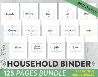 Household Binder Home Management Planner Home Maintenance Printable, Home Management Binder, Home Planner, Family Planner Home Organization