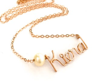 Personalized Custom Rose Gold Name Necklace with White Freshwater Pearl. Pearl Name Necklace in 14k Rose Pink Gold Filled