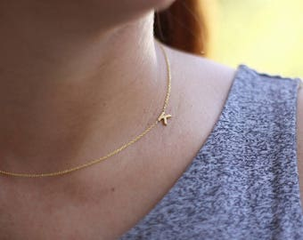 Sideways Initial Necklace,Tiny Initial Necklace , Dainty Necklace , Letter Necklace , Personalized  Monogram Necklace , Bridesmaid Gifts