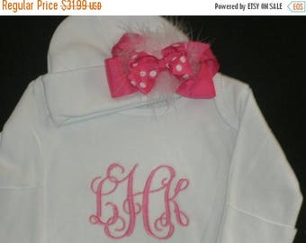 ON SALE PERSONALIZED Comming Home Infant Gown and Cap with Maroubu Bow Monogrammed