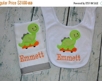 ON SALE Personalized Dinosaur Bib and Burp cloth Set Monogrammed