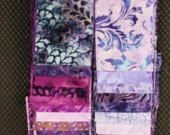 40 PC Set - PURPLE IRIS 2  Cotton Batik Jelly Roll Strips