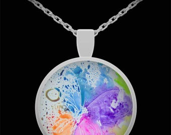 Butterfly Splash Pendant Necklace - Wearable Art - Created from original art - Gift for her